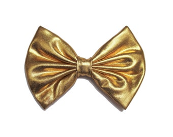 Gold Lame Metallic Shiny Hair Bow