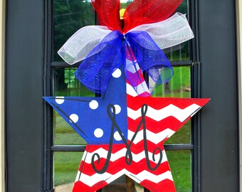 Fourth of July Door Hanger, 4th of July Wreath, Patriotic Wreath, Patriotic Star Door Decoration