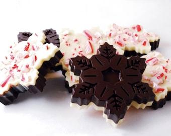 Peppermint Bark Snowflakes