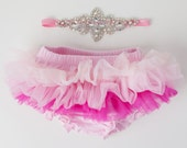 Tutu Bloomers - Ombre Pink & AB crystal Crown headband - diaper cover ruffle newborn bloomers