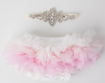 Tutu Bloomers - Ombre Ivory Pink & AB crystal Crown headband - diaper cover ruffle newborn bloomers cake smash set newborn