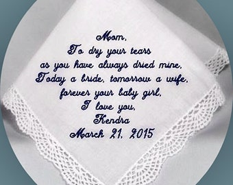 Mother of the  Wedding  Handkerchief  Heirloom Embroidered, Personalized Hanky, Gift, Handkerchief