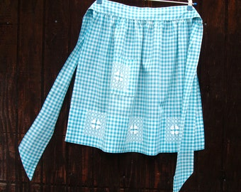 Vintage Apron, Blue Gingham Apron, Embroidery Cross Stitch Half Apron, 1950s Kitchen