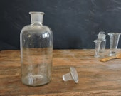 Apothecary Medicine Bottle. European Blown Glass Bottle With Ground Glass Stopper.