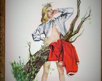APRIL Calendar Page 1948 Esquire Girl Calendar Year Book  Pin Up Pinup Plumage by J. Frederick Smith Bird