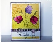 Handmade Greeting Card using Penny Black stamps - Floral Birthday Card - Tulips or Poppies * HoneyblossomDesigns