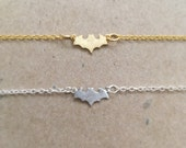 Tiny Batman Bracelet, gold plated, rhodium plated, silver plated, brushed matte, simple, everyday, super hero, gift, teen, tween