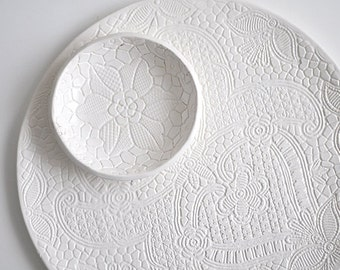 white lace ceramic plate for christmas table or wedding cake