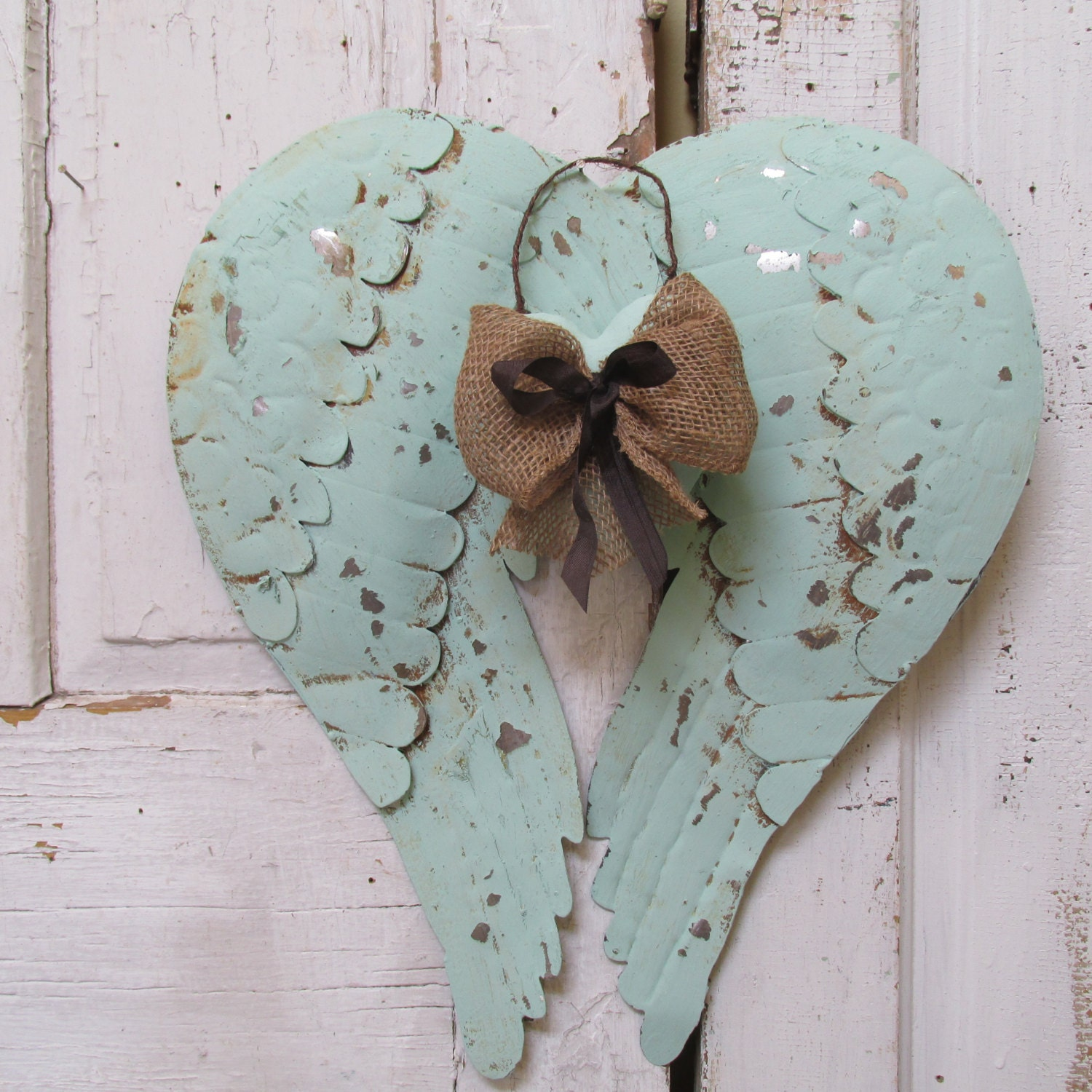 Metal Angel Wings Wall Decor Distressed Sea By