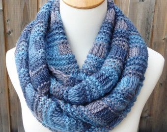 Baby Alpaca Infinity Scarf - Blue and Gray Infinity Scarf - Denim Wool Scarf - Multicolor Scarf - Chunky Knit Scarf - Ready to Ship