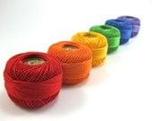 Rainbow Pear Cotton Set - Finca Presencia Perle Cotton - Red, Orange, Yellow, Green, Blue, Purple