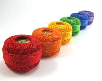 Rainbow Pearl Cotton Thread Set | Finca Presencia Perle Cotton Embroidery Floss - Red, Orange, Yellow, Green, Blue, Purple