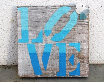 Love Shabby Chic Beachy Reclaimed Wood Art. Reclaimed Wood Art, Rustic Decor, Beach Decor, Valentine's Day Gift ~Ready to Ship!~