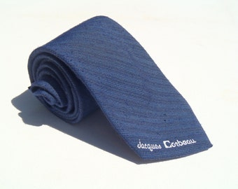Vintage 1980s Skinny Blue Tie with Black Pinstripes by Jacques Corbeau
