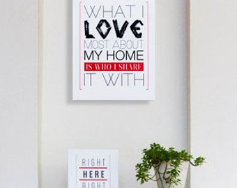 """Wood Box Signs by [LOVE TO BE] Typography Motivation Home Decor Wall Decor Wall Hanging Decorative Arts """"What I Love Most About My Home"""""""