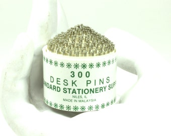 Vintage Green and White General Standard Stationery Supply One Inch Desk Pins - Vintage Office Supply