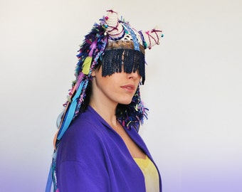 UTHA SHAMAN - ORIGINAL blue  - headdress - festival headdress - fesstival hat - festival headpiece - Bohemian Hippie Head accessories