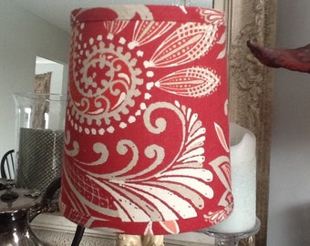 Flared drum lampshade red paisley pattern with cream and taupe cotton lampshade