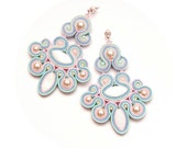Pastel earrings big chandelier. Pearls, soutache mint, light pink, light blue earrings. Big dangle wedding earrings pearls pastels.