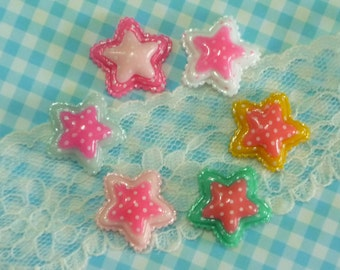 6 pcs Double Star Cabochon, Dotted Star Cabochons,Assorted Mixed Color Flatback Star Cabochon