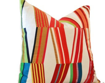 Pierre Frey - Woven - Contemporary Modern Multi Colored Pillow Cover - Blue Green Red Purple Orange Pillow - Raised Embroidered Linen