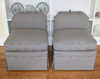 SALE Pair vintage Mid Century newly upholstered cotton slipper chairs