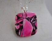Beautiful Pink Matrix Pyrite Turquoise Square Necklace