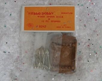 Vintage Dollhouse Miniature, Dollhouse Spoon Rack, Miniature Silverware, Miniature Spoon Rack
