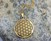 Flower of Life Necklace, Sacred Geometry Flower of Life Pendant Gold Plated stainless steel