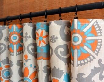 Window Treatments Curtains Drapery Panels 24W or 50W x 63, 84, 90, 96 or 108L Rosa Dossett Mandarin shown