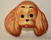 Vintage Chalkware Cocker Spaniel Dog Head Wall Hanging Plaque Miller Studio Inc 1952