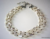 Beautiful 3 Strand Mother of Pearl Necklace Choker Mid Century 1950s Mod Vintage Jewelry