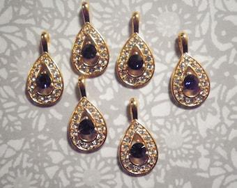 6 Goldplated Teardrop Pendants with Stones