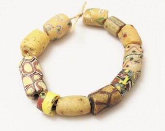 Antique Yellow African Trade Beads ,venetian Millefiori Beads,ethnic Beads (i-30)