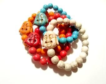 Yoga Beaded Bracelet. Howlite Bracelet. Buddha Bracelet. Beaded Bracelet. Buddha Bead Bracelet. Mala Bracelet.