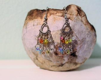 Rainbow Pastel Chandelier Earrings