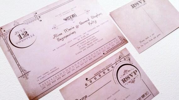 Gatsby wedding invitations - Art Deco Wedding invitation sample {Seattle design}