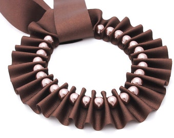 Ribbon Jewelry, Chocolate pleated ribbon necklace