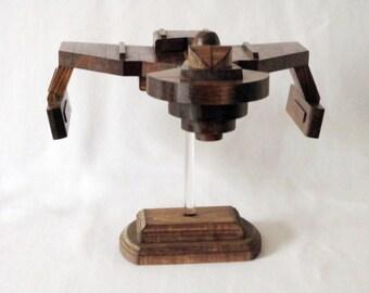 Klingon Ship Model No. 155 - Star Trek - Made with 155 pieces of scrap wood