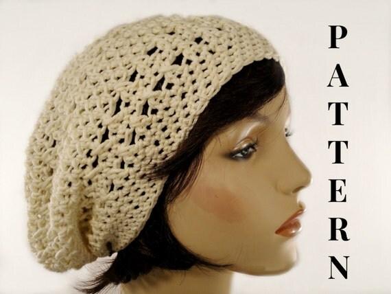 Summer Beanie Hat Crochet Pattern : Summer Crochet Hat Pattern Slouchy Hat by VillaYarnDesigns