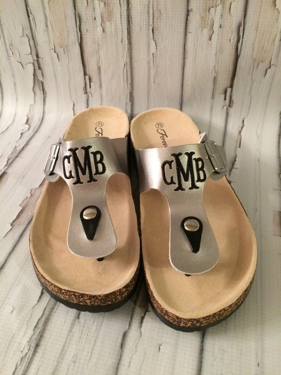 Monogrammed Sandals Personalized T Strap Shoes Womens