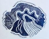 linocut - DRIFTLESS DREAM, blue - 12x12 / printmaking / block print / nature art / contemporary / Wisconsin, river, bluffs