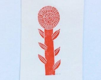 linocut - FLOWER - 4x6 / printmaking / block print / nature art / ochre, red-orange / wildflower