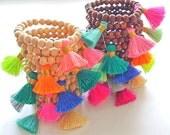 Mala Tassel Bracelets Wood Bracelet Mala Bracelet Yoga bracelet Gypsy bracelet Layering Bracelet Stack bracelet Silk tassel Mini Tassel