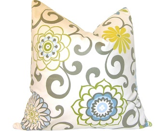 Custom Pillow Cover / Pom Pom Play in Spa by Waverly / Floral / Blue Yellow Grey / Both Sides / Made to Order