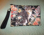Cute Cat Purse With Wrist Strap & Key Ring   6 X 9 inches