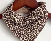Natural and Brown Leopard Print Reversible Baby Scarf/Bib/Bandana Bib