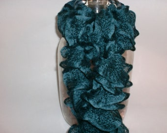 Lovely deep green hand knitted ladies scarf