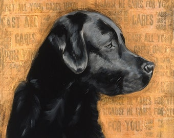 "Black Lab, 11"" x 14"" Signed Art Print"