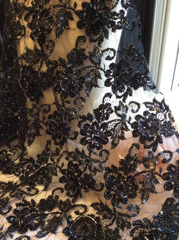 Black Beaded Vintage Lace with 3d Ribbon Flowers, Black Lace, Beaded Lace, Beaded Fabric, Lace Fabric C13-105